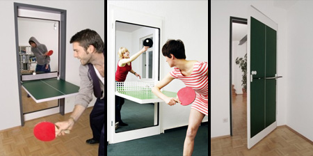 door turns into a ping pong table