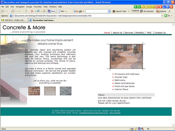 Concrete and More website before redesign