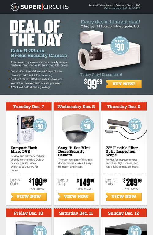 Supercircuits deal-of-the-day email design