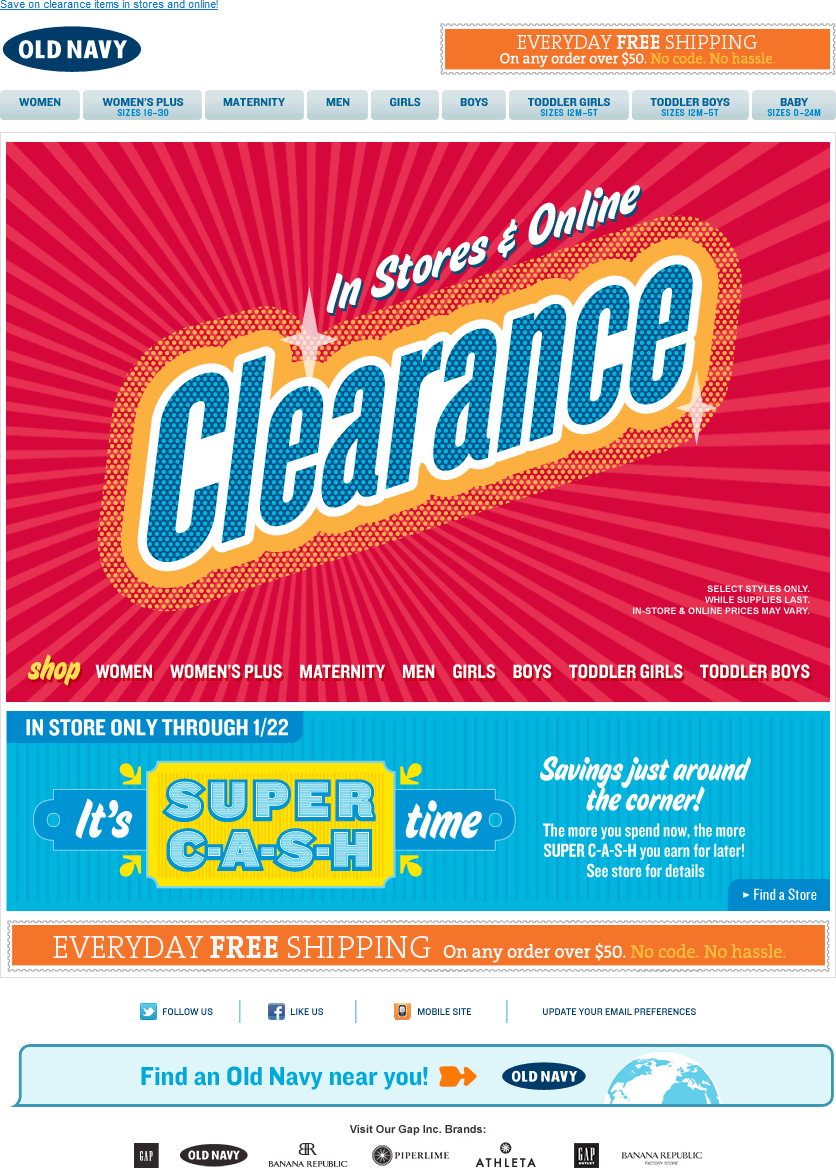 Old Navy email design: Clearance
