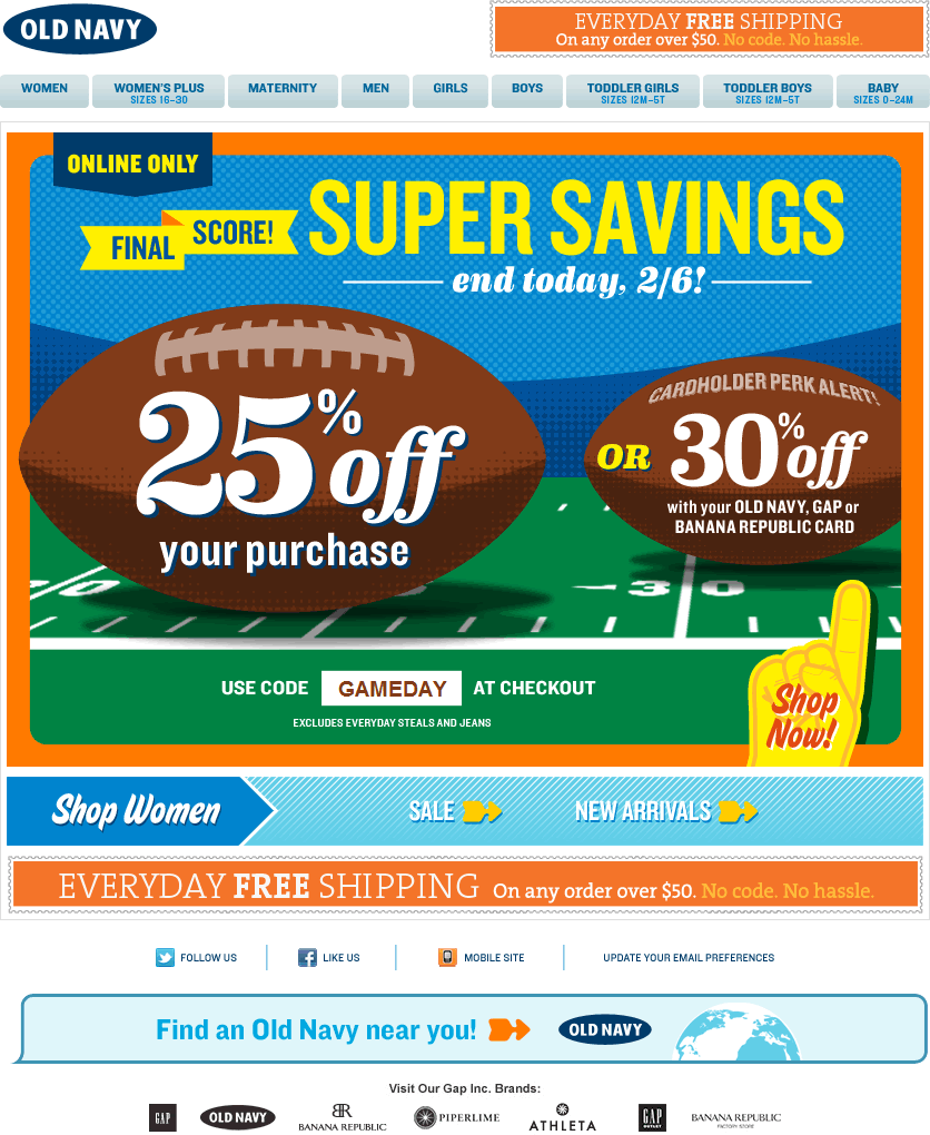 Old Navy email design: Final Score