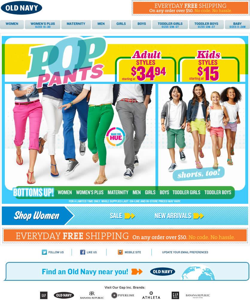 Old Navy email design: Pop Pants