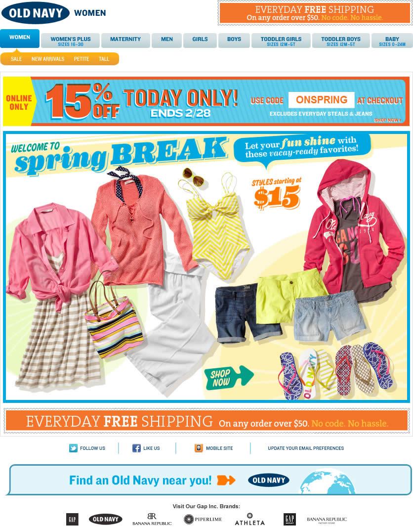 Old Navy email design: Spring Break
