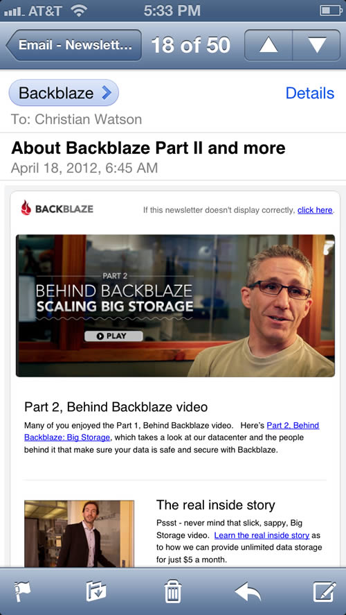 BackBlaze mobile email design