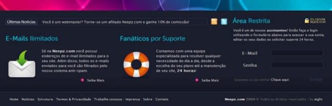 Neepz website footer design example