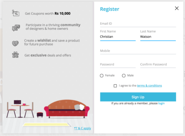 Pepperfry desktop website signup form