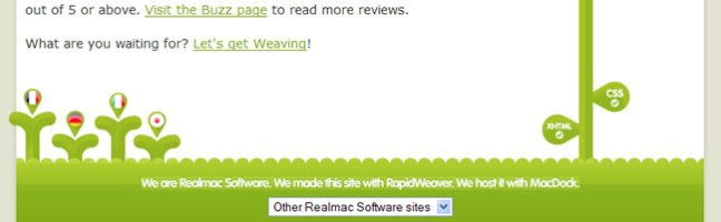 Realmac Software website footer design example