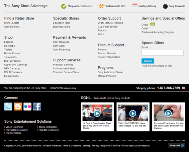 Sony Store website footer design example
