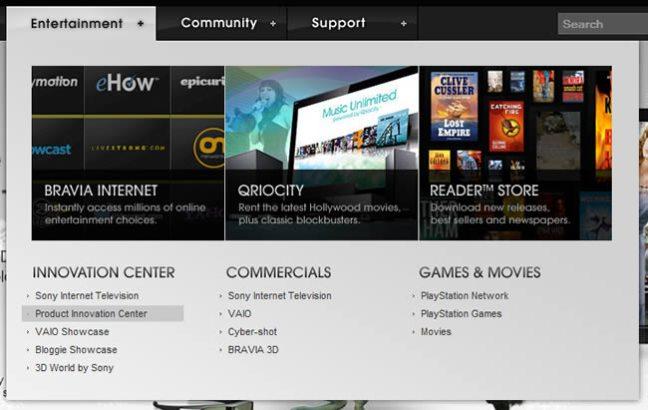 Sony Style mega menu design example