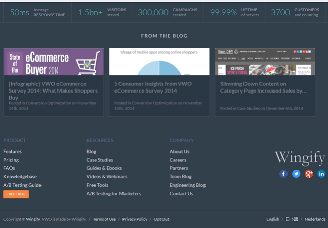 VWO website footer design example