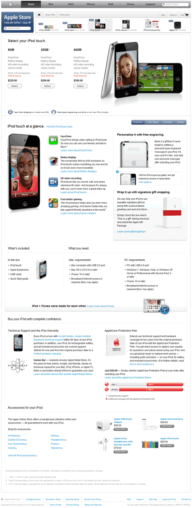 Apple ecommerce product page design example