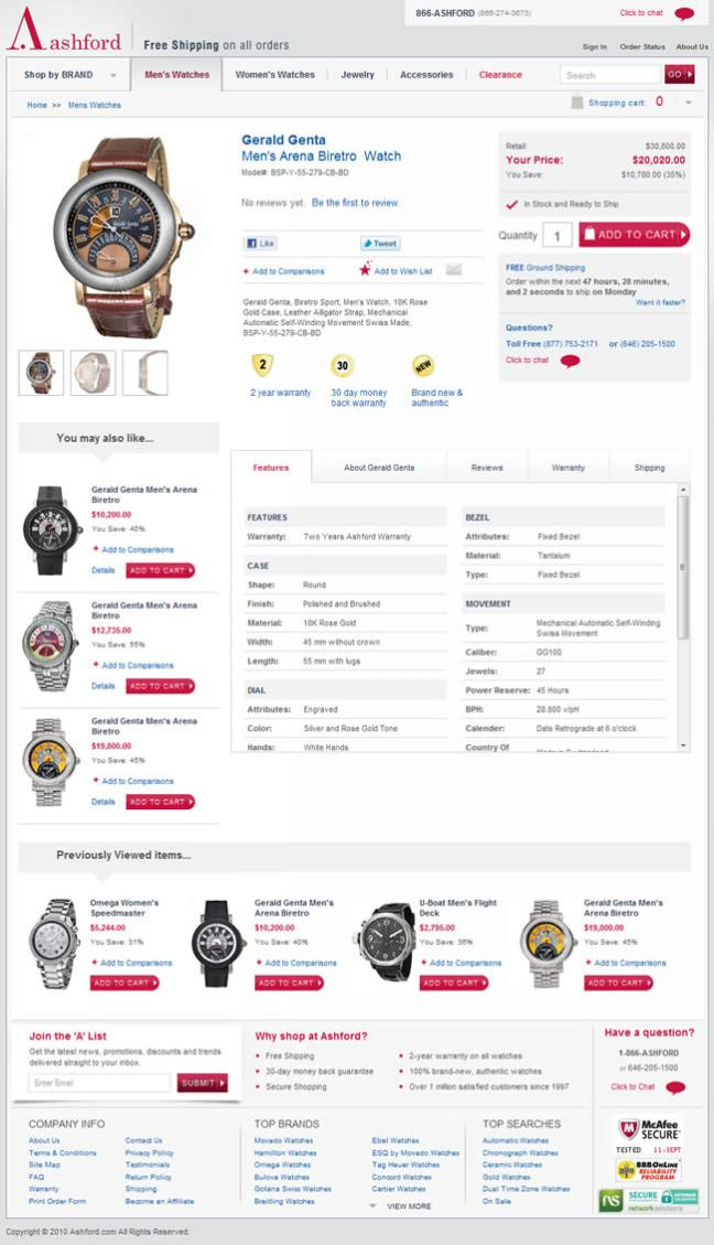 Ashford ecommerce product page design example