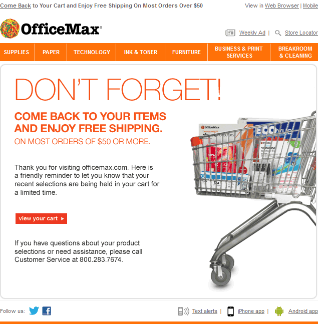 OfficeMax abandoned cart email design example
