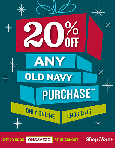 Old Navy online coupon design example