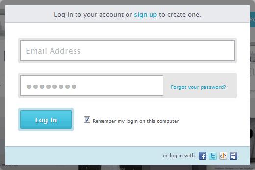 Virb login form design example