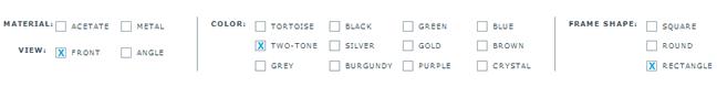 Warby Parker faceted navigation design example