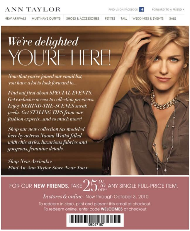 Ann Taylor welcome email design example
