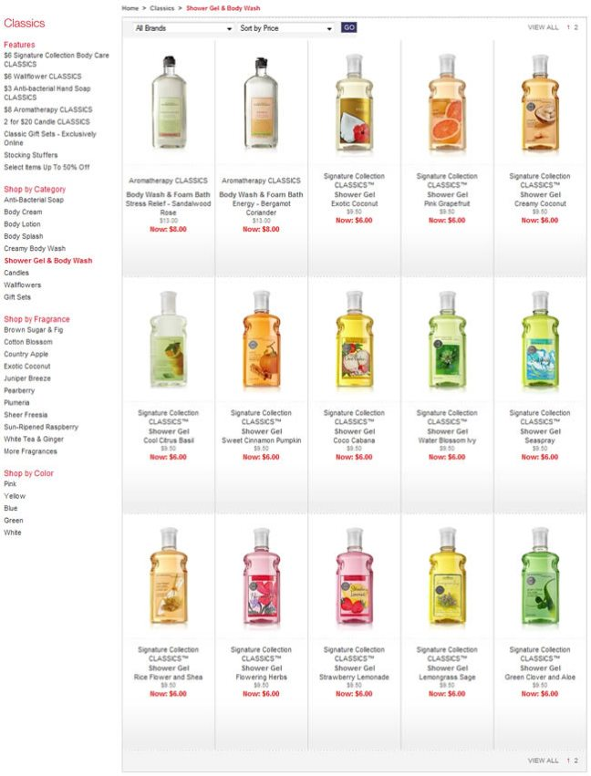 Bath and Bodyworks ecommerce gallery page design example
