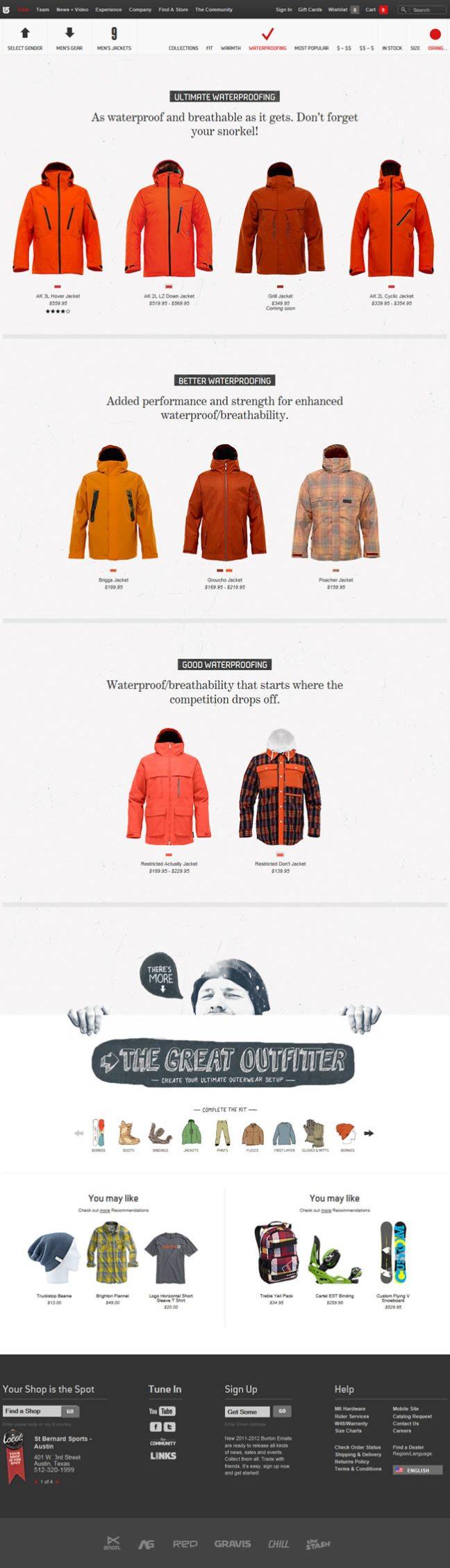 Burton gallery page design example