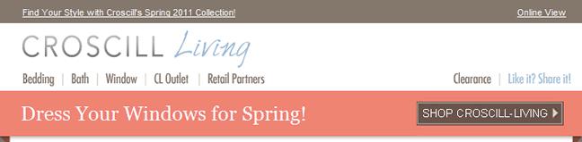 Croscill Living email header design example