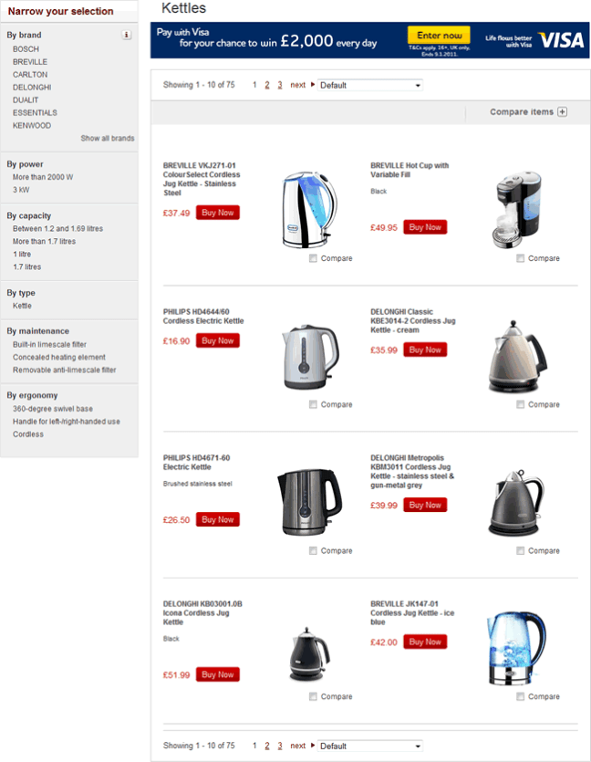 Dixons ecommerce gallery page design example