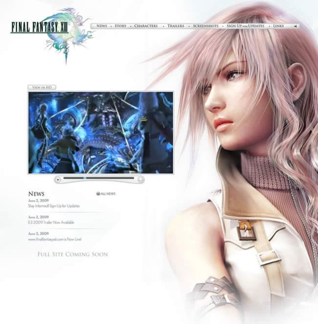 Final Fantasy XIII video game website design example