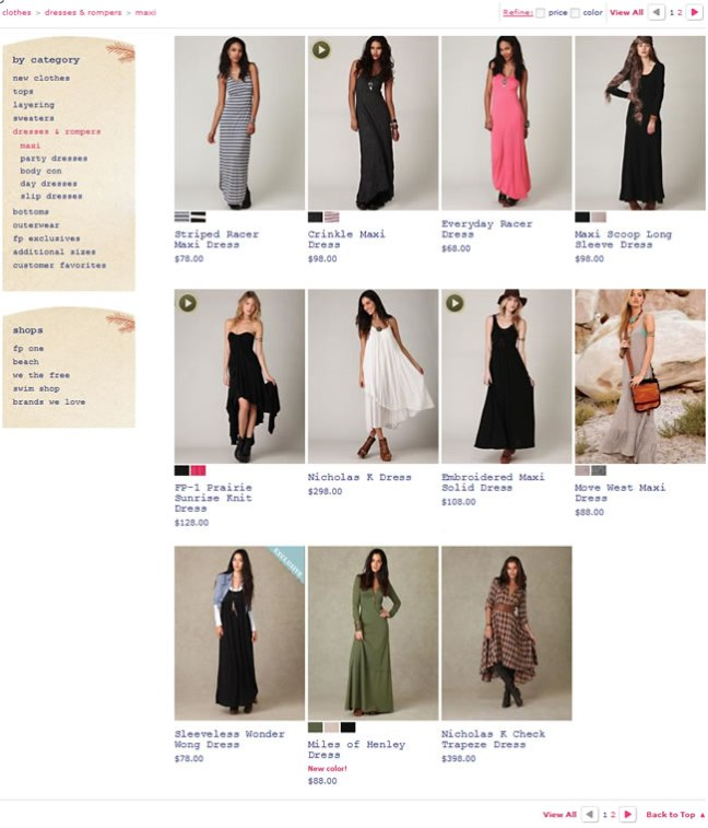 Free People ecommerce gallery page design example