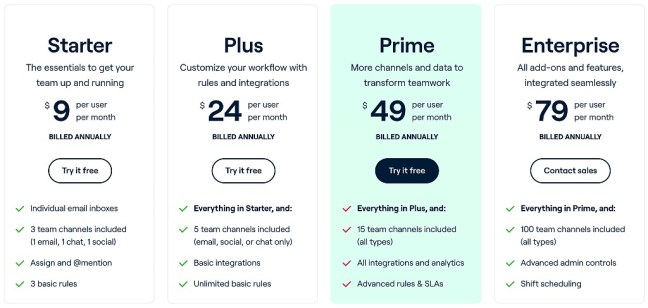 Front pricing plans UI design