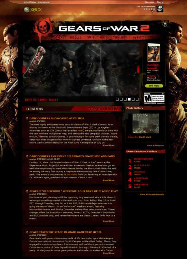 Gears of War 2 video game website design example
