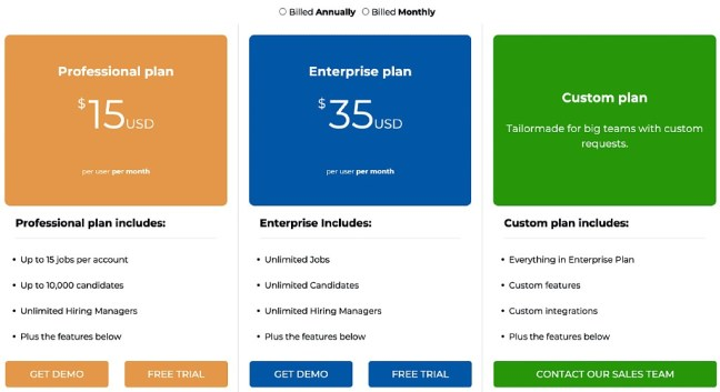 Manatal pricing plans UI design