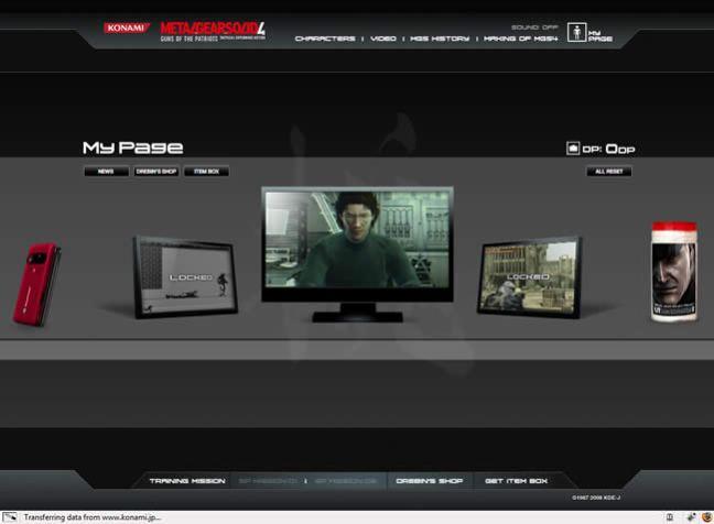 Metal Gear Solid 4 video game website design example
