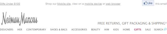 Neiman Marcus email header design example