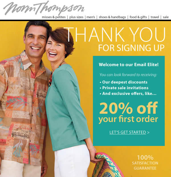 Norm Thompson welcome email design example