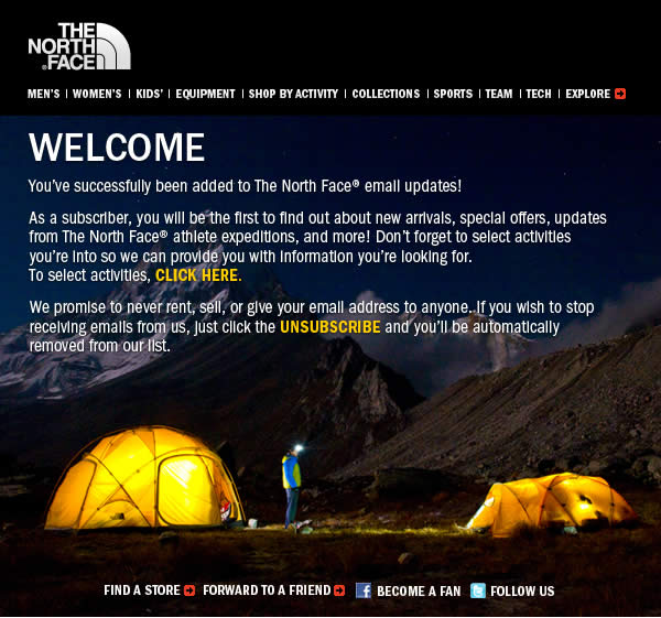 The North Face welcome email design example