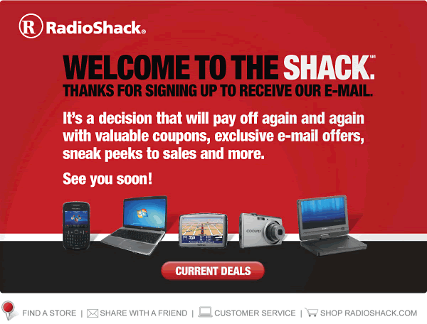 Radioshack welcome email design example