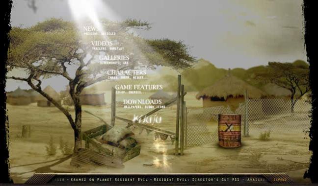 Resident Evil 5 video game website design example