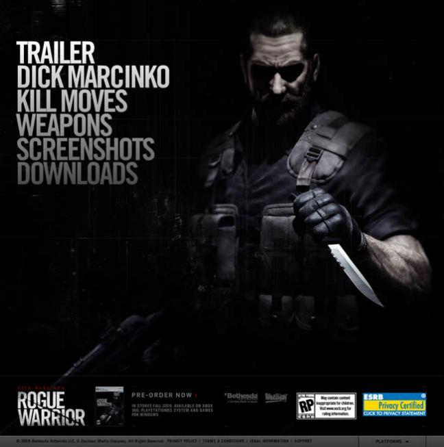 Rogue Warrior video game website design example