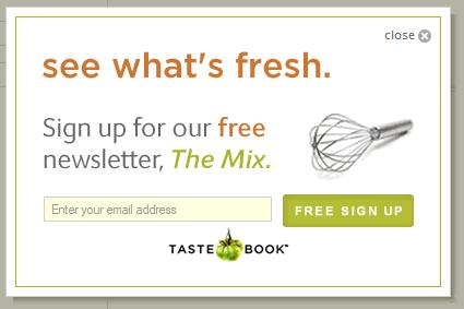 Tastebook email signup form design example