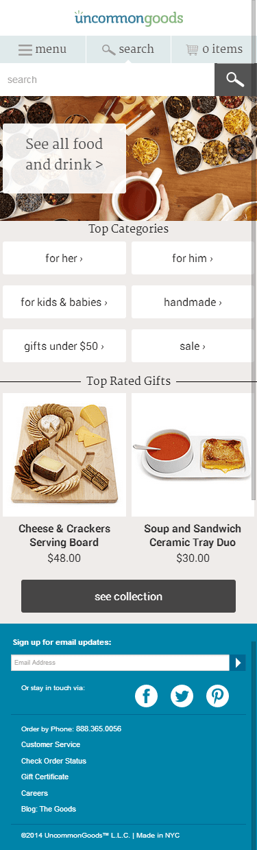 Uncommon Goods mobile ecommerce home page design example