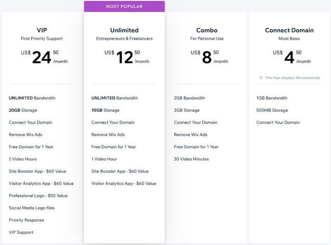 Wix pricing plan UI design
