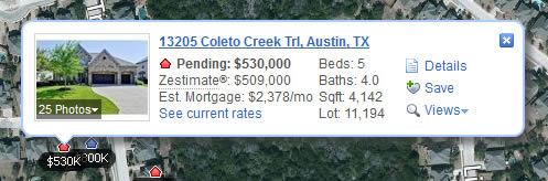 Zillow web tooltip design example