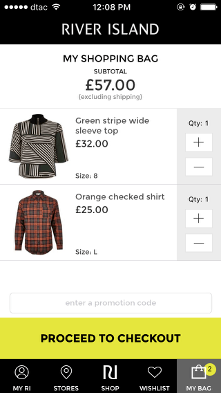River Island mobile shopping cart (iPhone app)