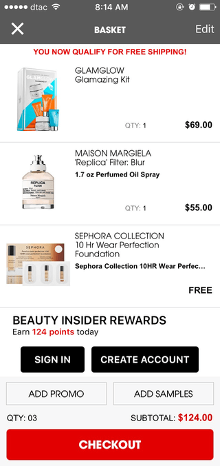 Sephora mobile shopping cart (iPhone app)