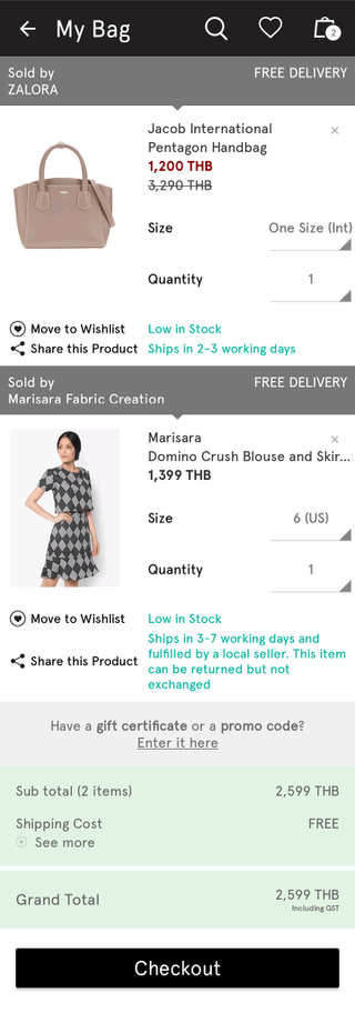 Zalora mobile shopping cart (Android app)