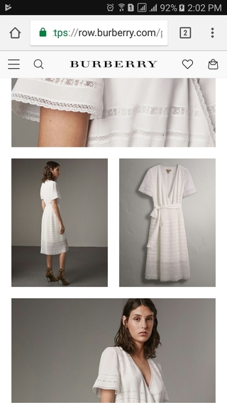 Burberry mobile product detail page