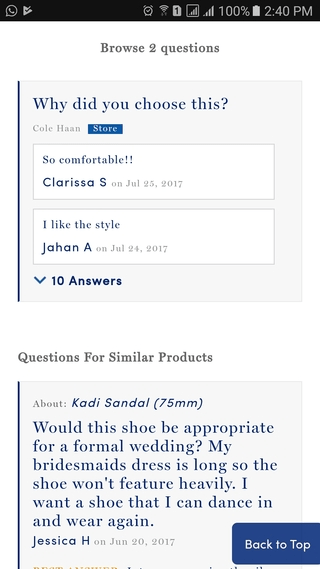 Cole Haan Q&A on mobile website PDP