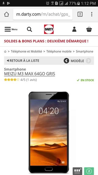 Darty mobile website PDP