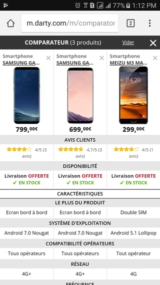 Darty mobile website compare products