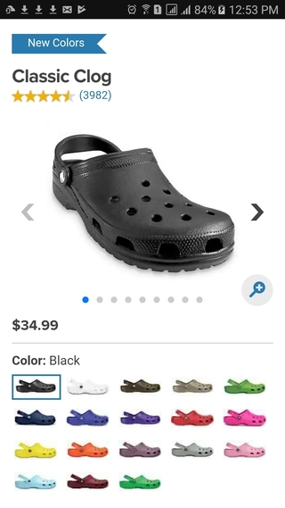 Crocs mobile website product detail page