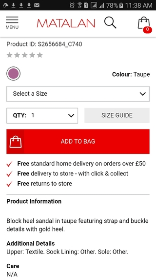 Matalan mobile website product detail page